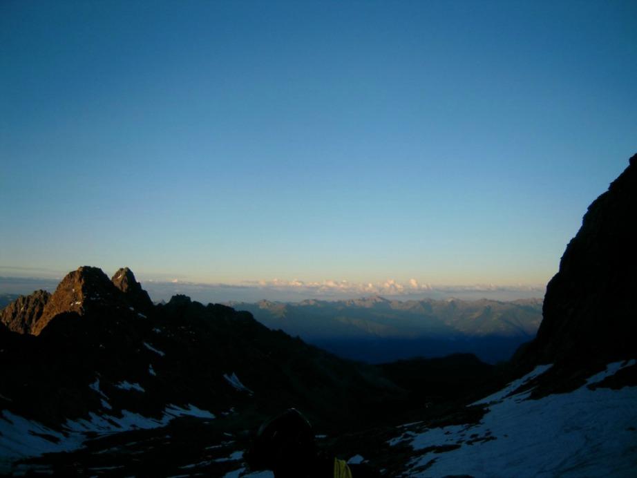 Alba verso la cima del Monte Disgrazia