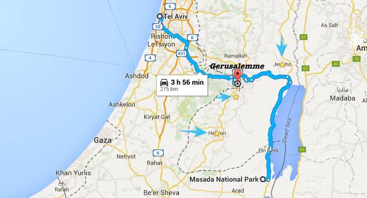 itinerario israele palestina mappa