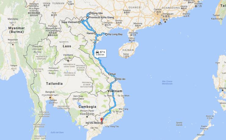 mappa itinerario Vietnam fringeintravel