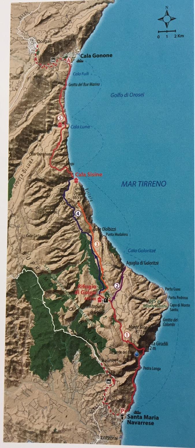 trekking sardegna mappa traversata golfo orisei
