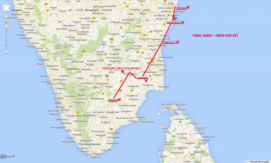 Mappa itinerario Tamil Nadu