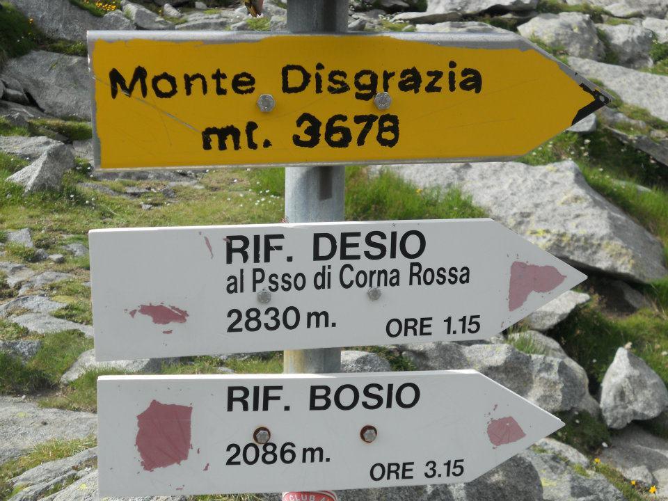 La segnaletica che indica Monte Disgrazia