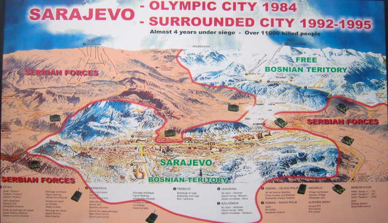 map sarajevo serbian war