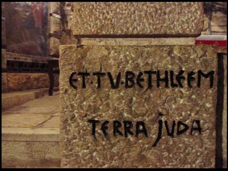 Scritta di Betlemme nella Basilica della Natività