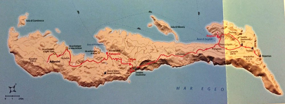Mappa traversata di Amorgos trekking in Grecia