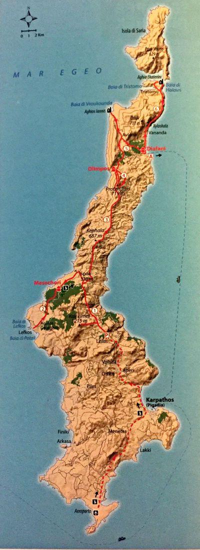 Mappa traversata di Karphato trekking in Grecia