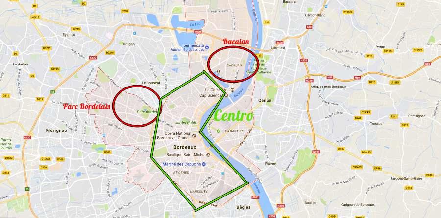 mappa dove dormire a Bordeaux