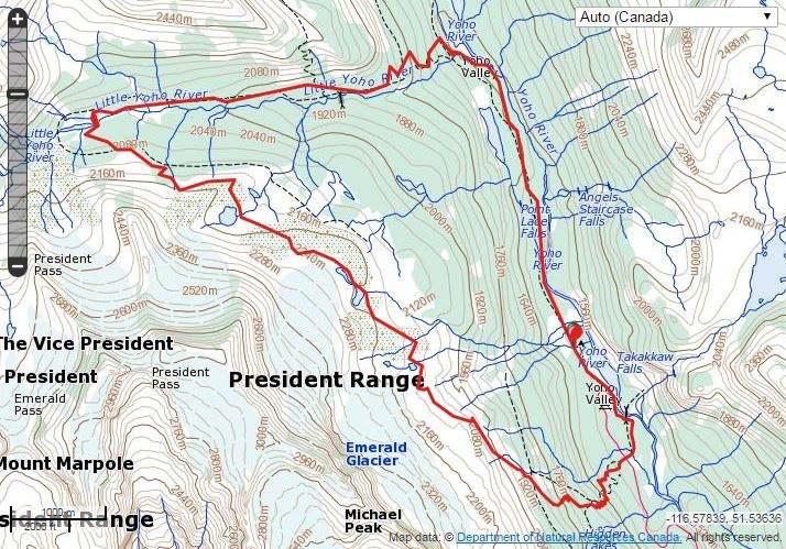 mappa iceline trail little yoho 2 giorni